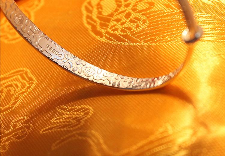 风花纹推圈银手镯时尚惜福传统银手镯