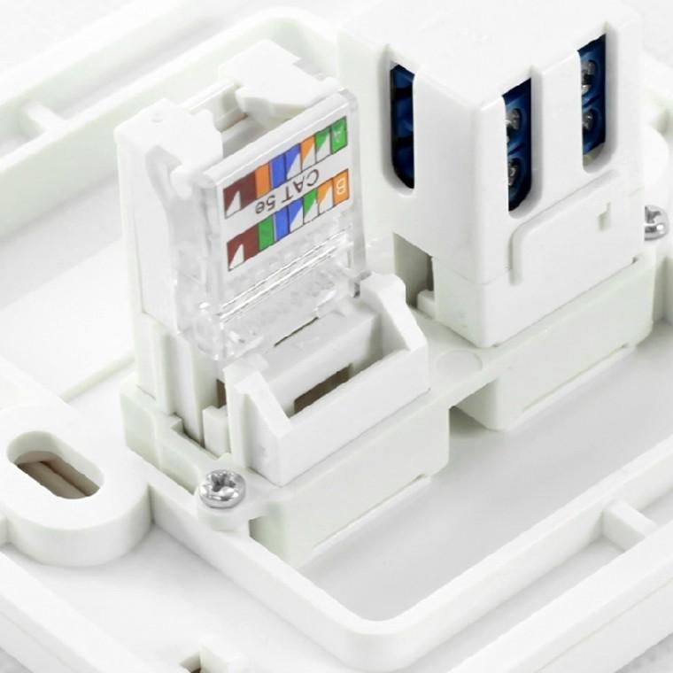 simon 西蒙 电话加信息插座