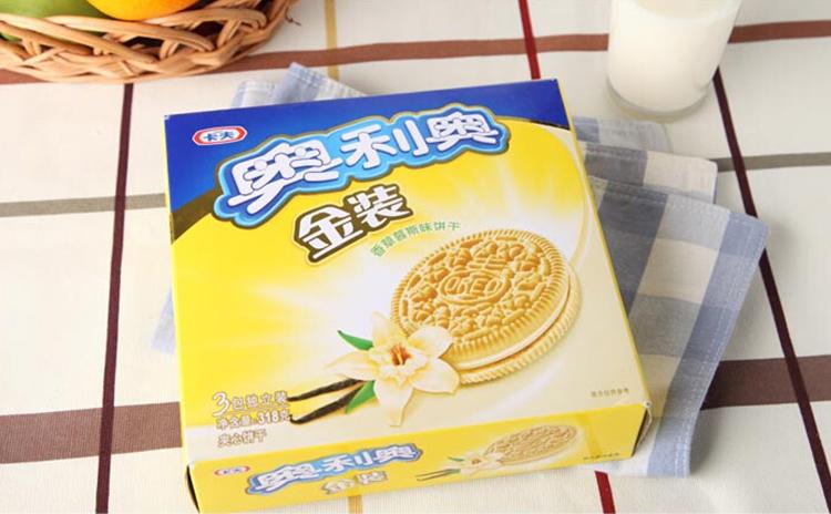 奥利奥 金装香草慕斯味夹心饼干 318g/盒 (新老包装随机发货)