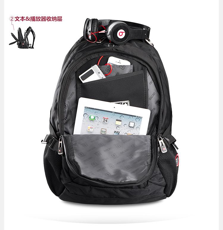 swisswin 瑞士十字 多功能商务休闲双肩电脑背包 15英寸 sw9333图片