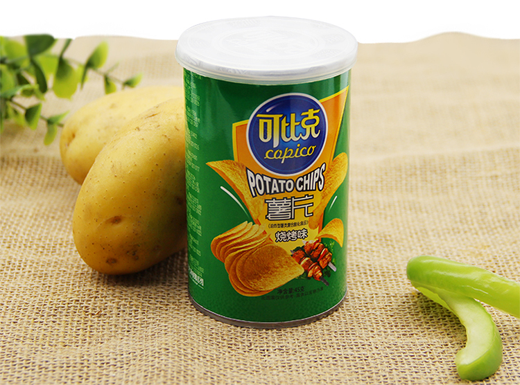可比克烧烤薯片 45g/罐图片