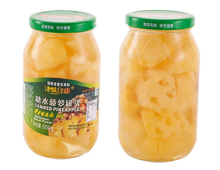 味绿康糖水菠萝罐头500g 瓶