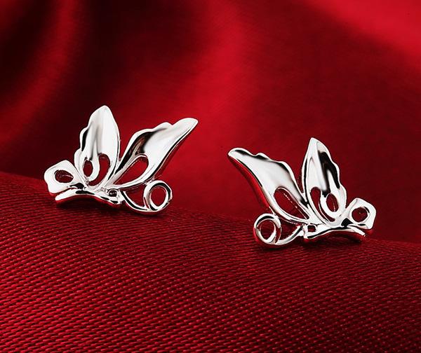 【如有缘】 925纯银小蝴蝶耳钉 女式 韩版可爱 精致蝴蝶