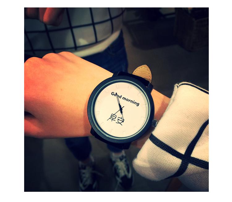 韩国早安晚安情侣手表 简约时尚潮流男女学生皮带手表 原宿bf复古风女