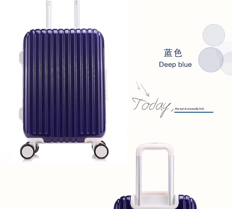 新款pc拉杆箱铝框旅行箱24寸标准万向轮行李箱