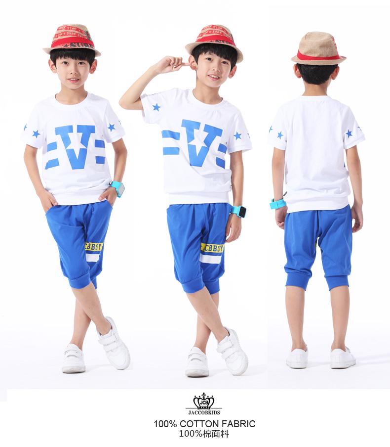 儿童纯棉短袖套装中大童运动服装 be8581110 白色/彩蓝 120 品牌
