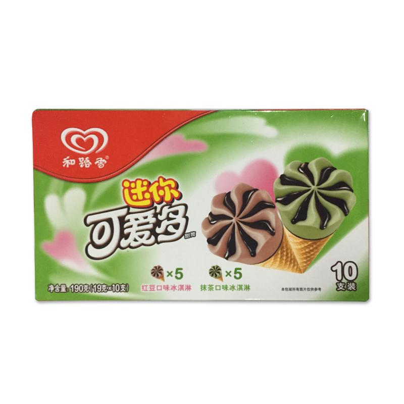 迷你可爱多 甜筒抹茶&红豆口味冰淇淋