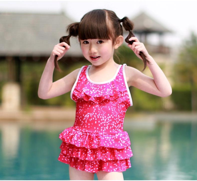 2015新款韩版儿童可爱公主速干衣连体裙式游泳衣 yf-mb5530 西瓜红 l