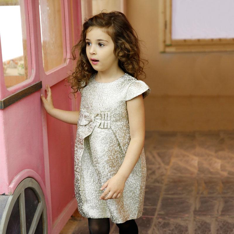 立体银丝条纹连衣裙