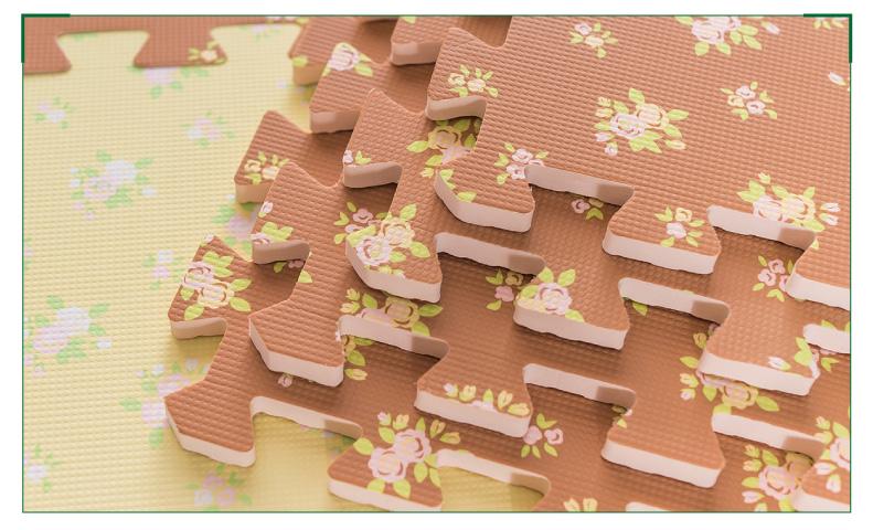 田园风覆膜碎花多色花纹泡沫拼图地垫