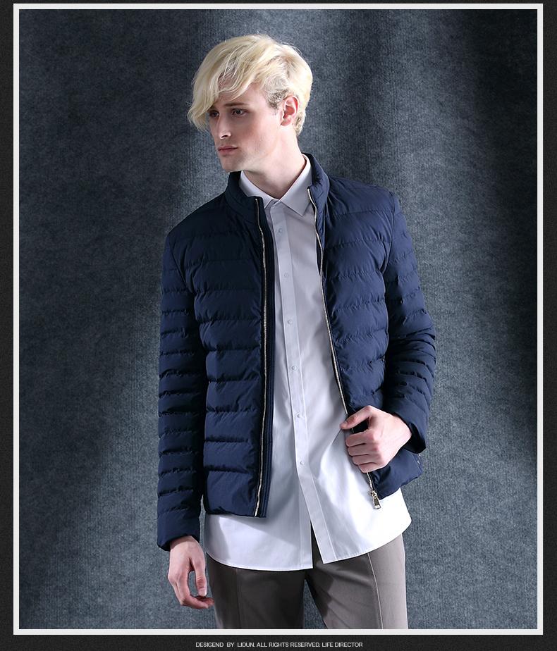 利顿 青年男士纯色立领冬季棉衣服 男短款保暖修身男装加厚外套潮 m81