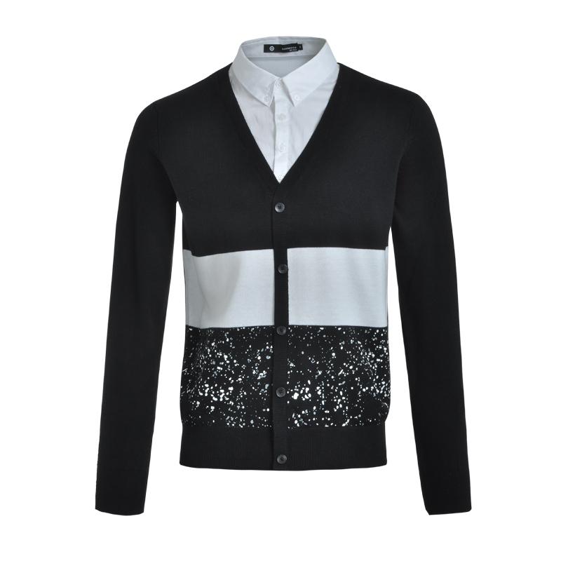 rh罗宾汉 男装2015秋装新款星空条纹假两件衬衫领针织衫 1715402 黑色
