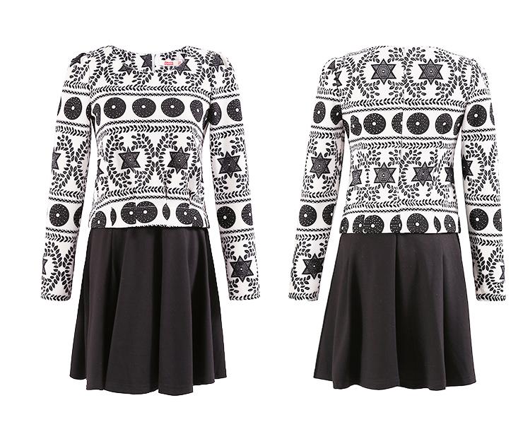 几何图案拼接裙子