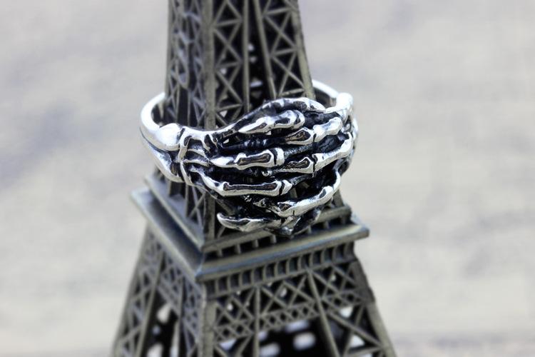 白月光 s925纯银男士戒指 复古泰银骷髅手指个性男款戒指