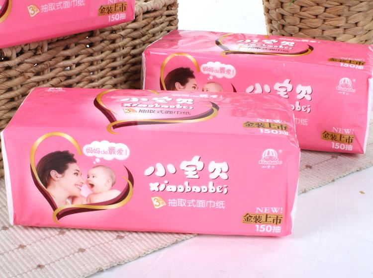 小宝贝 包装:3包-4包 类型:抽取式面巾纸 纸品层数:3层 产地:中国大陆