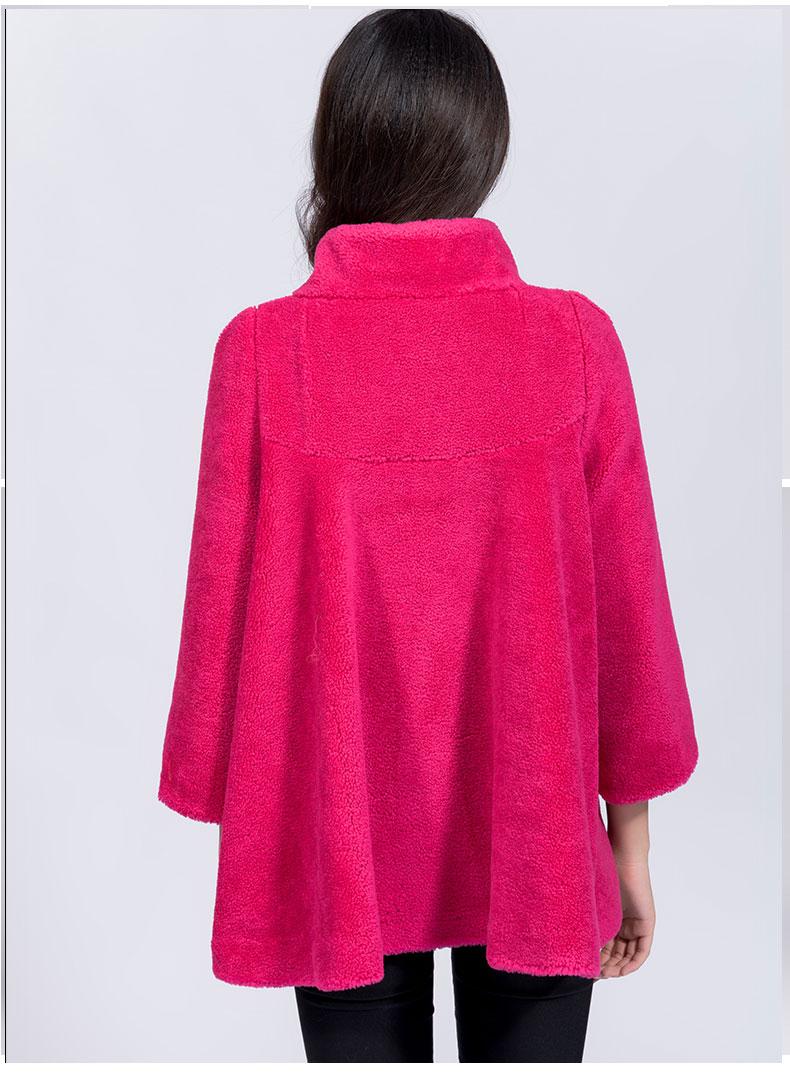 cgu 新款可爱女装冬装时尚斗篷羊剪绒皮毛一体风格爆款皮草外套 6688