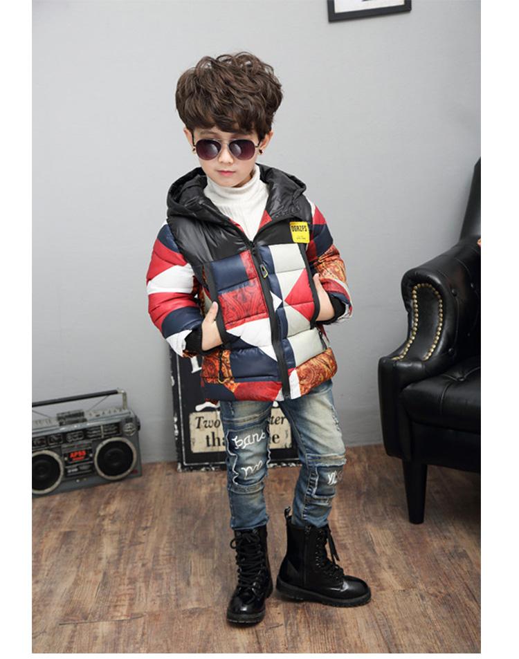 闪电猴 童装男童冬季中大童拼接嘻哈风保暖加厚棉衣