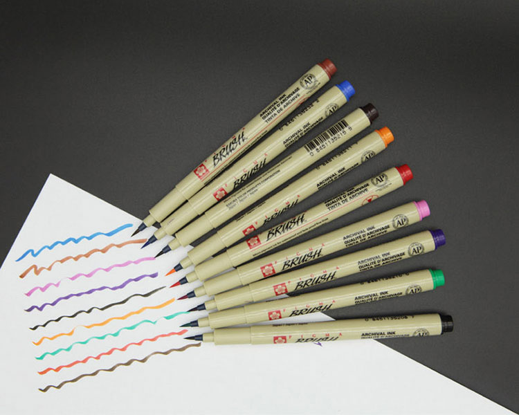 brush漫画手绘上色彩色毛笔小楷秀丽书法笔 防水漫画手绘软头彩色毛笔