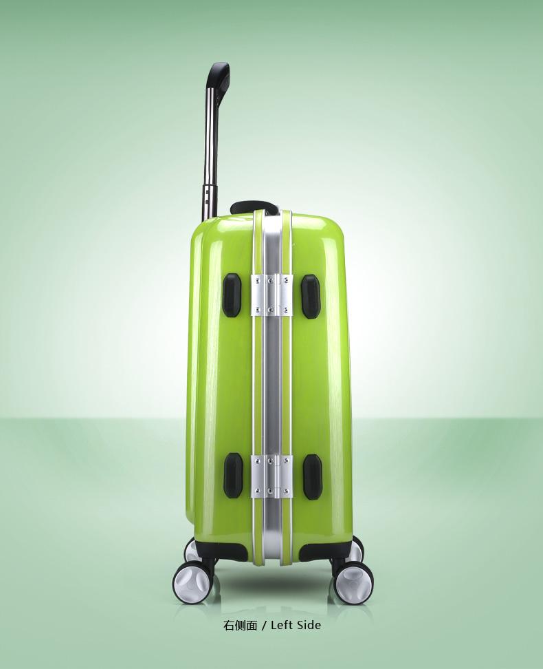拉杆箱pc+abs铝框女飞机轮旅行箱行李箱男