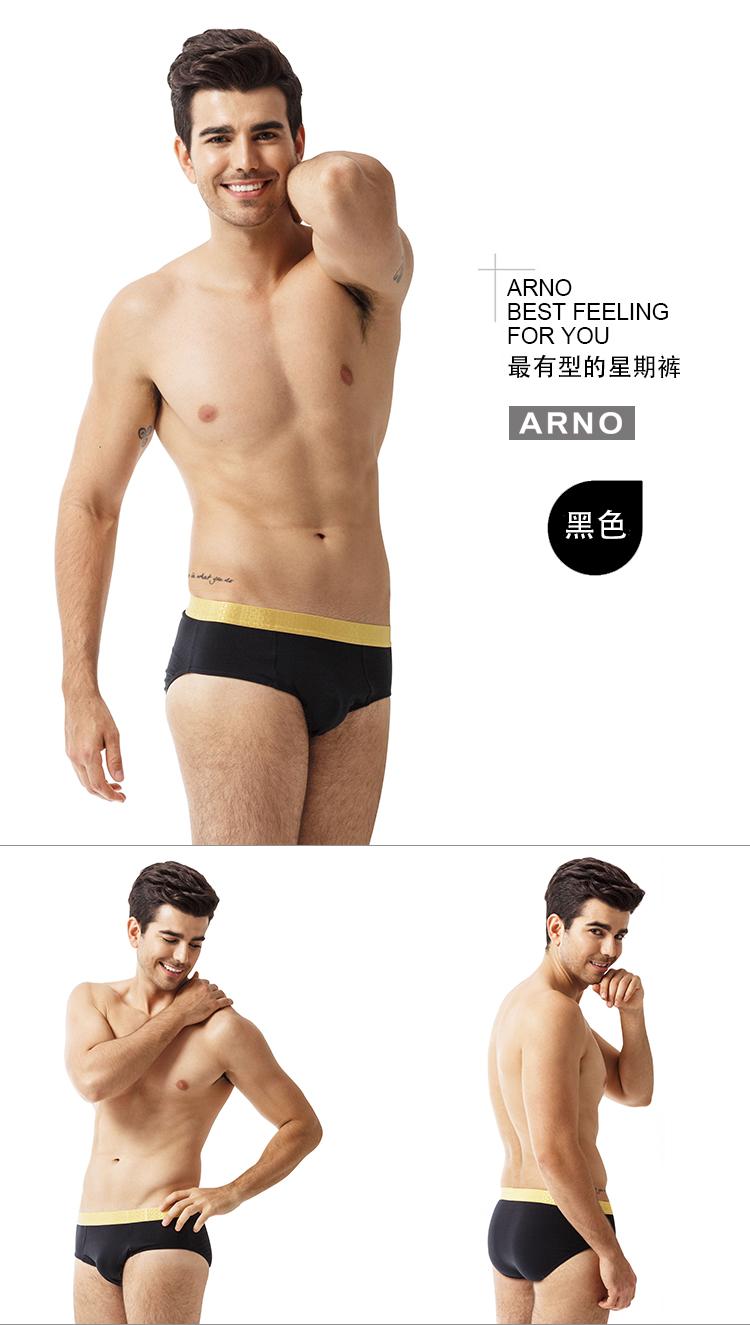 arno 男士内裤 棉质透气三角裤男中腰性感三角裤 5件礼盒装mtu50801-5