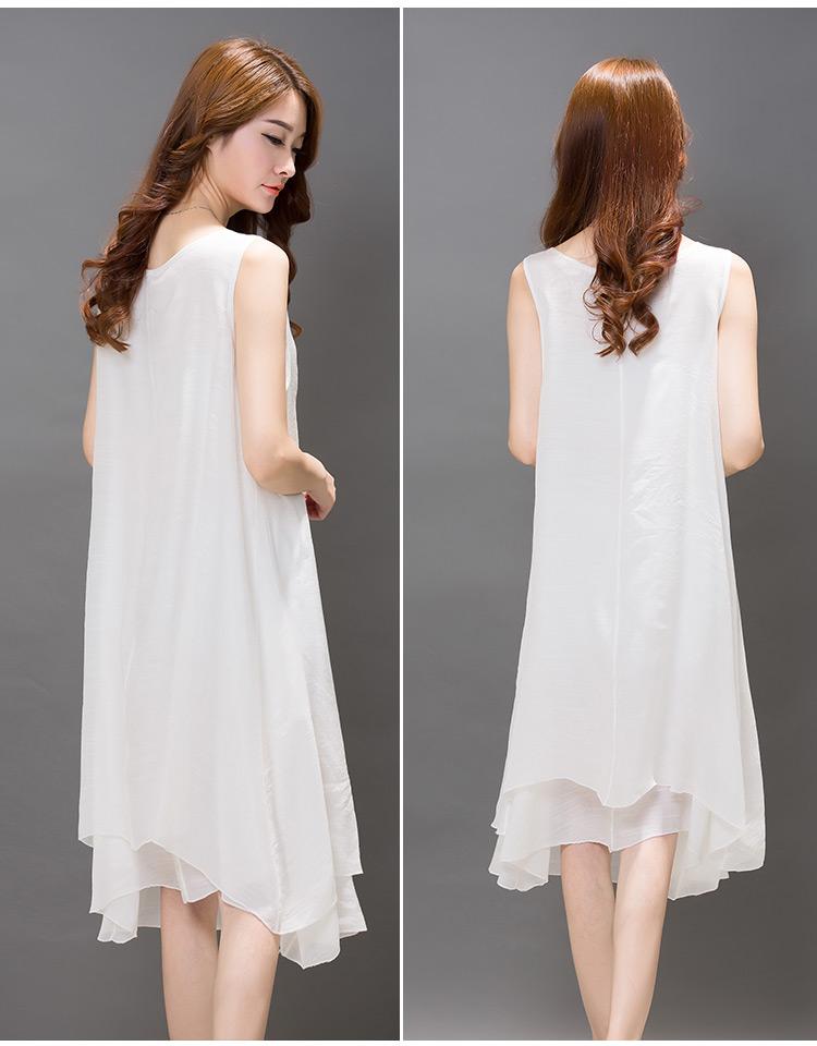 韩版女装连衣裙复古亚麻套装裙女