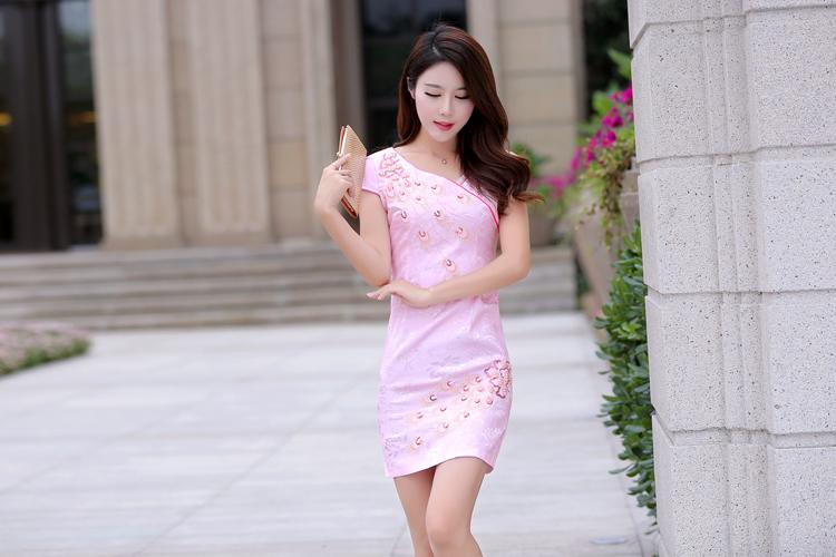 修身孔雀翎图钉珠短袖复古旗袍连衣裙