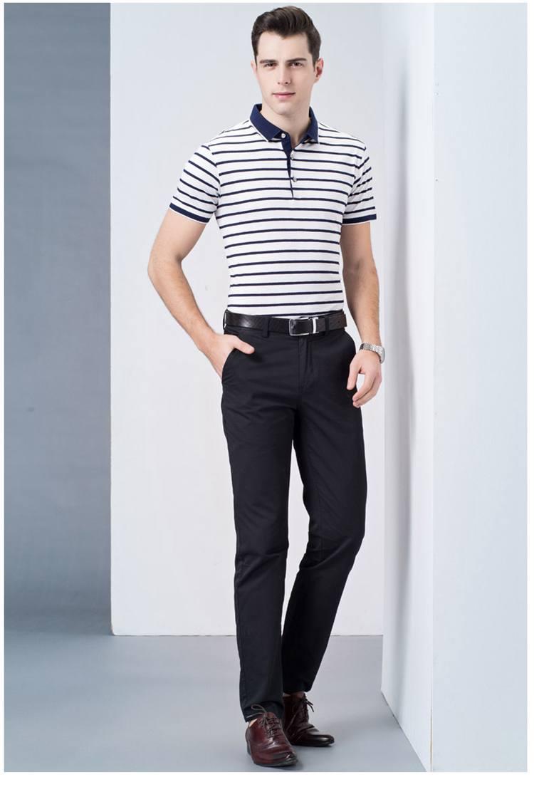 南极人 男士桑蚕丝条纹翻领薄款t恤商务休闲polo衫体恤衣服男 白色