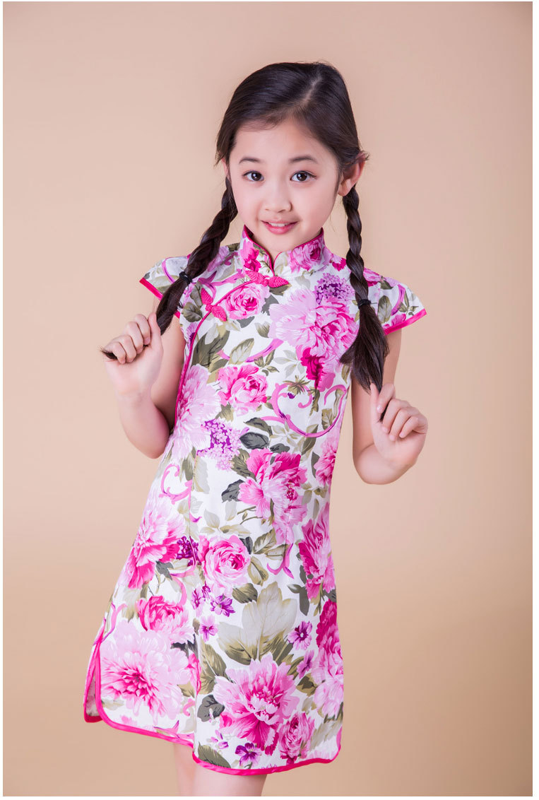 皮乐宝贝 儿童旗袍夏季 女童唐装小童中式中国风公主连衣裙 xx-524