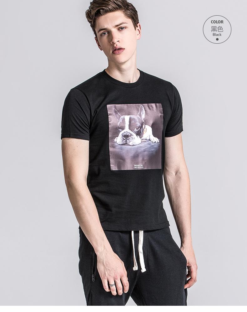 u-shark优鲨 新款男士 臻品动物可爱狗印花短袖t恤 圆领纯棉 681601
