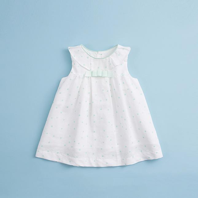 马克珍妮 宝宝棉麻连衣裙 女童圆点印花裙子16575 白色 5t(110-119cm)