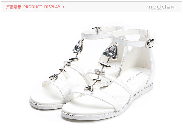 时尚2016露趾手套女水钻乳胶装饰平底鞋鱼骨凉鞋名典滑爽处理剂图片